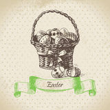 Vintage background with Easter bascket Royalty Free Stock Image