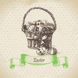 Vintage background with Easter bascket. Hand drawn illustration Royalty Free Stock Image
