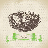 Vintage background with Easter eggs and nest. Hand drawn illustr Royalty Free Stock Images