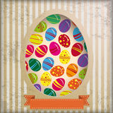 Vintage Background Eggs in Hole Stripes Stock Photos