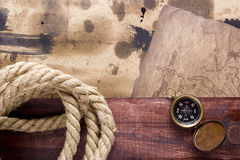 Vintage background with elements of ship travel Royalty Free Stock Photos