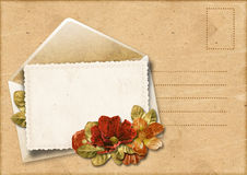 Vintage background with envelope and beautiful flowers Stock Image