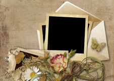 Vintage background with envelope and beautiful flowers Stock Photos