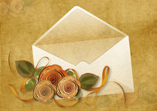 Vintage background with envelope and roses Stock Photography