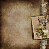 Vintage background with faded roses, lace, old letters Stock Photo