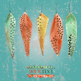 Vintage background with feathers Stock Photography