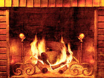 Vintage background fireplace Stock Image