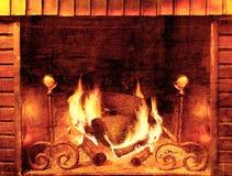 Vintage background fireplace Stock Image