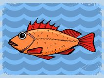 Vintage background with fish Stock Photography