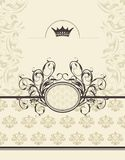 Vintage background with floral frame and crown Stock Image