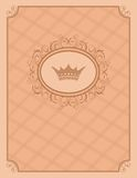 Vintage background with floral frame and crown Stock Images
