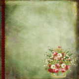 Vintage background with flower basket Royalty Free Stock Photos