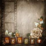 Vintage background with  flowers. Vintage background with   frame, text memory  and flowers Stock Images