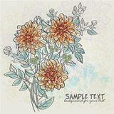 Vintage background with flowers dahlias for your text-EPS10 Stock Photography