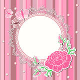 Vintage background with flowers and lace frame Stock Photography