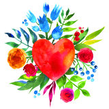 Vintage background with flowers in love and flower heart, Beautiful watercolor floral heart. Love Heart icon. Summer botanical ele Stock Images