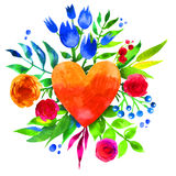Vintage background with flowers in love and flower heart, Beautiful watercolor floral heart. Love Heart icon. Summer botanical ele Stock Photo