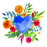 Vintage background with flowers in love and flower heart, Beautiful watercolor floral heart. Love Heart icon. Summer botanical ele Royalty Free Stock Photo