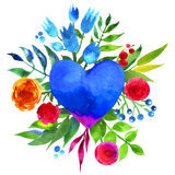Vintage background with flowers in love and flower heart, Beautiful watercolor floral heart. Love Heart icon. Summer botanical ele Royalty Free Stock Photography