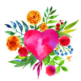 Vintage background with flowers in love and flower heart, Beautiful watercolor floral heart. Love Heart icon. Summer botanical ele Royalty Free Stock Photos