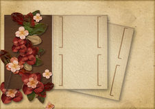 Vintage background with flowers and old album royalty free stock photography