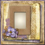 Vintage background with flowers and old frame Royalty Free Stock Image