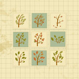 Vintage background with forest trees cards Royalty Free Stock Image