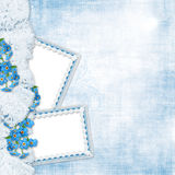 Vintage background with forget-me-not and frames Royalty Free Stock Images
