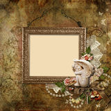 Vintage background with frame and angel Stock Photos