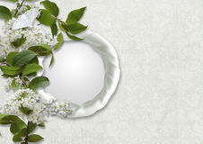 Vintage background with frame and bird cherry Stock Photo