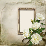 Vintage background with frame and bunch of roses Royalty Free Stock Photos