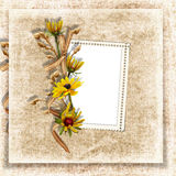 Vintage background with frame and flower Stock Photo
