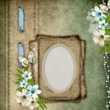 Vintage background with frame, flower composition Stock Photography
