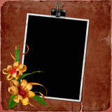 Vintage background with frame and flowers Royalty Free Stock Photos