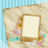 Vintage background with frame and flowers Royalty Free Stock Photo