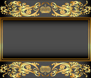 Vintage background frame with gold ornaments and a royalty free illustration