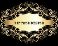 vintage background frame with gold pattern Royalty Free Stock Images