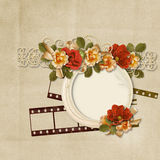 Vintage background with Frame and gorgeous flowers Stock Images