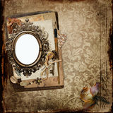 Vintage background with frame and old letters, faded roses Royalty Free Stock Photography