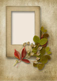 Vintage background with frame for photo and autumn leaves Royalty Free Stock Images