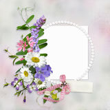 Vintage background with frame for photo or text and a bouquet of summer meadow flowers. Congratulatory background with frame and bouquet of flowers royalty free illustration