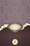 Vintage background with frame,ribbon and elegant patterns. Royalty Free Stock Photos