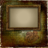 Vintage background with frame and rose Stock Image