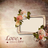 Vintage background with frame and roses Royalty Free Stock Photos