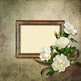 Vintage background with frame and roses Stock Photography