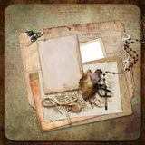 Vintage background with frame, roses and letters Stock Images