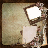 Vintage background with frame, roses and letters Stock Photography