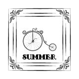 Vintage background and frame with Summer Travel Design - bicycle. hallo summer Stock Image