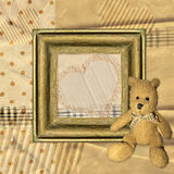 Vintage background with frame and Teddy bear Royalty Free Stock Photo