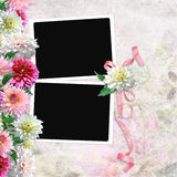 Vintage background with frames and flowers Stock Image